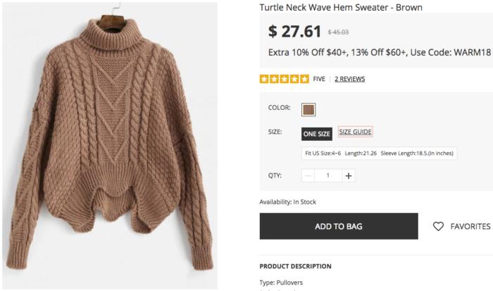 zafulセーター
